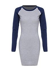 Недорогие -Жен. Большие размеры Тонкие Облегающий силуэт Платье - Контрастных цветов, С принтом Мини