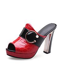 preiswerte -Damen Schuhe Künstliche Mikrofaser Polyurethan Frühling Sommer Pumps Sandalen Blockabsatz Peep Toe Schnalle für Büro & Karriere Party &