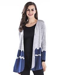 cheap -Women's Long Sleeves Cotton Slim Long Cardigan - Color Block, Print