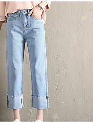 cheap -Women's Plus Size Jeans Pants - Solid Colored Basic High Waist