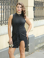 cheap -Women's Plus Size Sophisticated Street chic Bodycon Sheath Little Black Dress - Solid Colored, Split High Waist