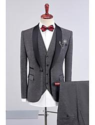 abordables -Noir Bleu foncé Gris Violet Bleu Couleur Pleine Coupe Standard Polyester Costume - Col Châle Droit 1 bouton