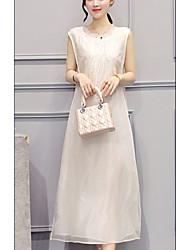 abordables -Mujer Básico Seda Corte Ancho Vestido Un Color Midi Escote Redondo / Cuello Barco