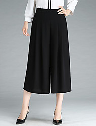 cheap -Women's Sophisticated Street chic Wide Leg Pants - Solid Colored