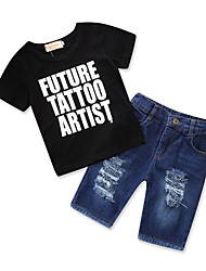 cheap -Boys' Daily Going out Print Clothing Set, Cotton Polyester Summer Short Sleeves Simple Casual Black