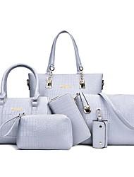 baratos -Mulheres Bolsas PU Conjuntos de saco 6 Pcs Purse Set Com Relevo Crocodilo Rosa / Cinzento / Roxo