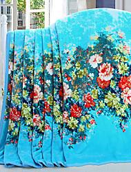 cheap -Coral fleece, Reactive Print Floral Cotton / Polyester / Polyester Blankets