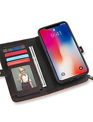 economico -Custodia Per Apple iPhone X Porta-carte di credito A portafoglio Con supporto Con chiusura magnetica Integrale Tinta unica Resistente