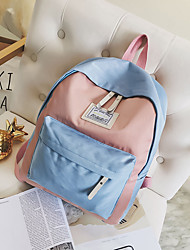 Недорогие -Жен. Мешки холст рюкзак Молнии Черный / Розовый / Бежевый
