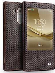 Недорогие -Кейс для Назначение Huawei Mate 9 Mate 8 Защита от удара с окошком Флип Чехол Сплошной цвет Твердый Настоящая кожа для Huawei Mate 8
