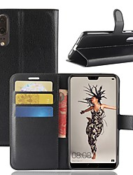 Недорогие -Кейс для Назначение Huawei P20 lite P20 Бумажник для карт Кошелек Флип Магнитный Чехол Однотонный Твердый Кожа PU для Huawei P20 lite