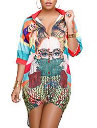 Недорогие -Жен. Большие размеры Тонкие Рубашка Платье - Полоски Контрастных цветов, Классический Рубашечный воротник Мини
