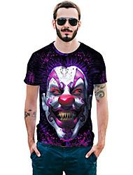 baratos -Homens Camiseta - Diário / Bandagem Moda de Rua / Exagerado Estampado, Estampa Colorida / Animal / Retrato Algodão / Raiom Decote Redondo