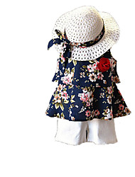 cheap -Girls' Daily Holiday Solid Floral Clothing Set, Cotton Polyester Summer Sleeveless Cute Active Brown Navy Blue