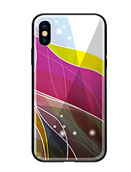 Недорогие -Кейс для Назначение Apple iPhone X iPhone 8 С узором Кейс на заднюю панель Полосы / волосы Твердый Закаленное стекло для iPhone X iPhone