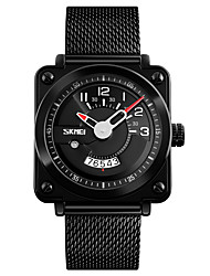 baratos -SKMEI Homens Quartzo Relógio de Moda Relógio Casual Calendário Impermeável Mostrador Grande Relógio Casual Aço Inoxidável Banda Luxo