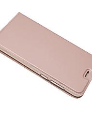 Недорогие -Кейс для Назначение Huawei P8 Lite (2017) Бумажник для карт со стендом Чехол Сплошной цвет Твердый Кожа PU для P8 Lite (2017)