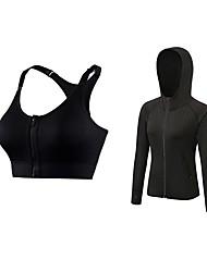 preiswerte -Damen Active Set Langarm Atmungsaktivität Sport-BHs / Kapuzenshirt für Jogging Polyester Fuchsia / Grün / Blau S / M / L