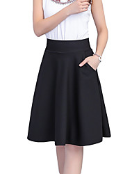 cheap -Women's Vintage Plus Size A Line Skirts - Solid Colored, Pleated