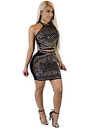 cheap -Women's Street chic Tank Top - Polka Dot Geometric, Sequins Stripe Skirt