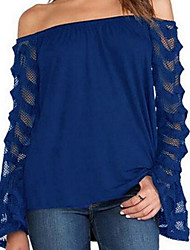 cheap -Women's Lantern Sleeve Cotton Blouse Lace Boat Neck
