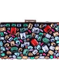 Недорогие -Жен. Мешки Полиэстер Вечерняя сумочка Кристаллы Цвет радуги