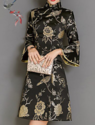 Недорогие -Жен. Шинуазери (китайский стиль) Вспышка рукава Оболочка Платье - Цветочный принт, С принтом Воротник-стойка Выше колена