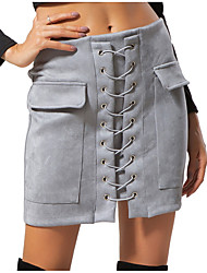 cheap -Women's Daily / Going out Cotton / Polyester Mini A Line Skirts - Solid Colored Rivet High Waist