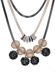 abordables -Femme Multicouches Balle Colliers Déclaration  -  Multicouches Large Noir Colliers Tendance Pour Vacances Plein Air