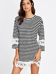 cheap -Women's Loose Loose Dress - Striped Lace