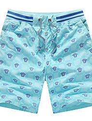 abordables -Hombre Deportivo Tallas Grandes Algodón Delgado Shorts Chinos Pantalones - Un Color Geométrico Estampado