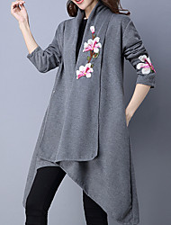 cheap -Women's Chinoiserie Long Sleeves Cotton Slim Long Cardigan - Solid Colored, Embroidered V Neck