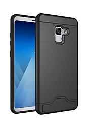 Недорогие -Кейс для Назначение SSamsung Galaxy A8 2018 / A8+ 2018 Бумажник для карт / Защита от удара / со стендом Кейс на заднюю панель Однотонный Твердый ПК