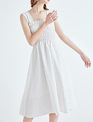 cheap -Women's Going out Holiday Street chic Cotton Shift Dress - Striped Pleated High Waist Strap