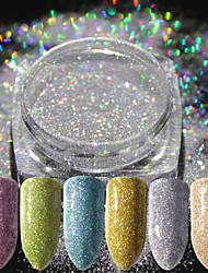 cheap -16pcs Glitter Powder Elegant & Luxurious Glitter & Sparkle Nail Art Tips