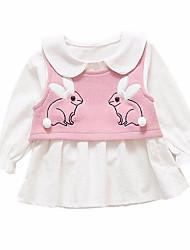 abordables -Robe Fille de Quotidien Couleur Pleine Polyester Printemps Manches Longues simple Marron Rose Claire Gris Jaune