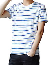 Homens Camiseta Moda de Rua Listrado