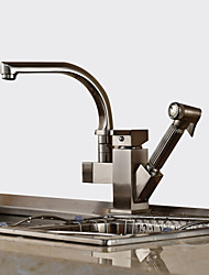 cheap -Kitchen faucet - Contemporary Art Deco / Retro Modern Nickel Brushed Pull-out / ­Pull-down Vessel
