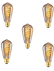 cheap -5pcs 40W E26 / E27 ST64 Warm White 2300k Retro Dimmable Decorative Incandescent Vintage Edison Light Bulb 220-240V