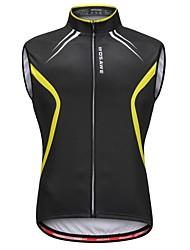 abordables -WOSAWE Homme Sans Manches Gilet de Cyclisme Sans Manches - Noir / jaune. Vélo Gilet / Sans Manche / Maillot, Bandes Réfléchissantes, Anti-transpiration
