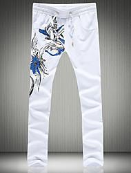 economico -pantaloni chino micro elasticizzati da uomo di media altezza, semplice molla in poliestere geometrica