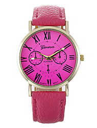 cheap -Women's Quartz Casual Watch Leather Band Analog Fashion Black / White / Blue - Red Pink Light Green
