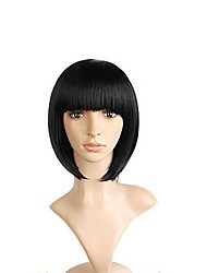 cheap -Synthetic Wig Yaki Straight Bob Haircut / With Bangs Synthetic Hair Natural Hairline Black Wig Women's Short Cosplay Wig / Natural Wigs /