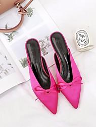 abordables -Femme Chaussures Soie Printemps / Automne Confort Sabot & Mules Talon Aiguille Noir / Fuchsia