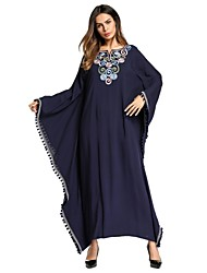 cheap -Women's Batwing Sleeve Loose Dress - Solid Colored Tassel / Embroidered Maxi