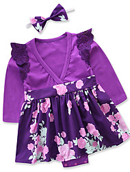 cheap -Baby Girls' Daily Going out Floral Patchwork One-Pieces, Cotton Polyester Spring Fall Cute Casual Long Sleeves Purple