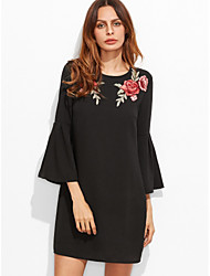 cheap -Women's Basic Loose Dress - Floral Black