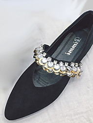 cheap -Women's Shoes PU(Polyurethane) Spring Comfort Flats Flat Heel Pointed Toe Rhinestone Black / Khaki