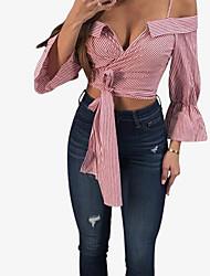 preiswerte -Damen Gestreift T-shirt Schleife