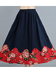 cheap -Women's Swing Skirts - Floral, Pleated High Waist